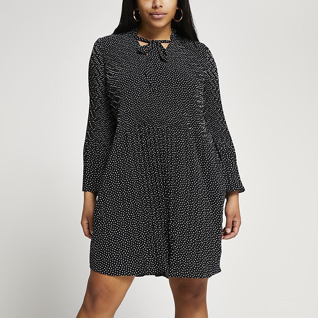 Plus black spot print pleated midi dress
