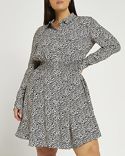 Plus black spot print shirred shirt dress