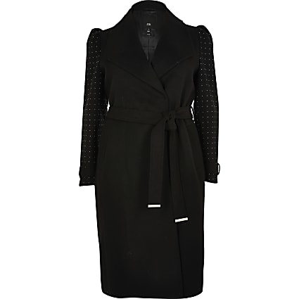 Plus black studded sleeve belted robe coat