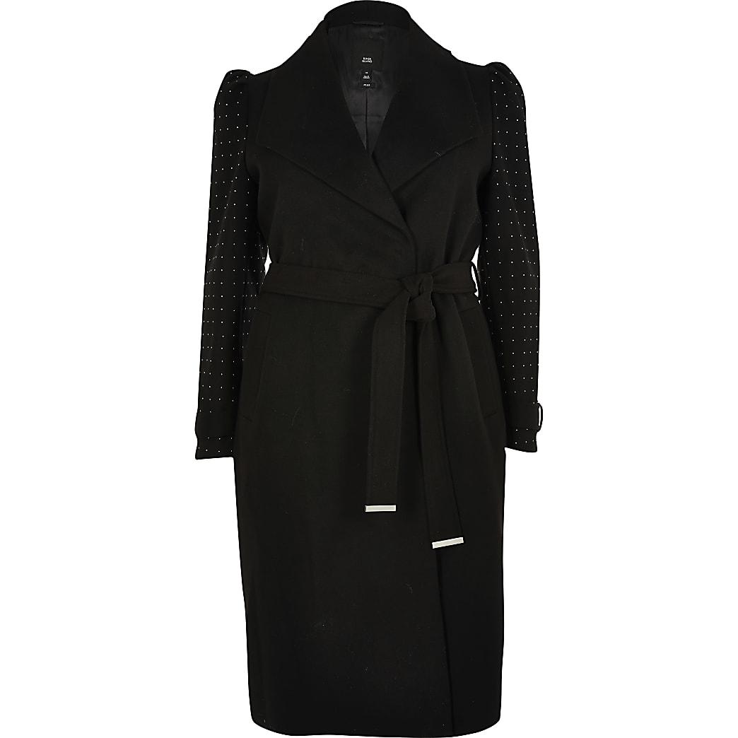 Plus black studded sleeve belted robe coat