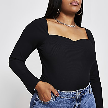Plus black sweetheart neckline top