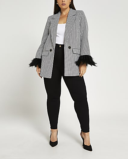Plus black tailored feather cuff blazer