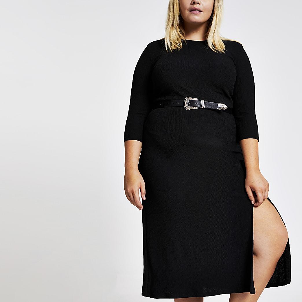 Plus - Robe noire mi-longue texturée en jersey