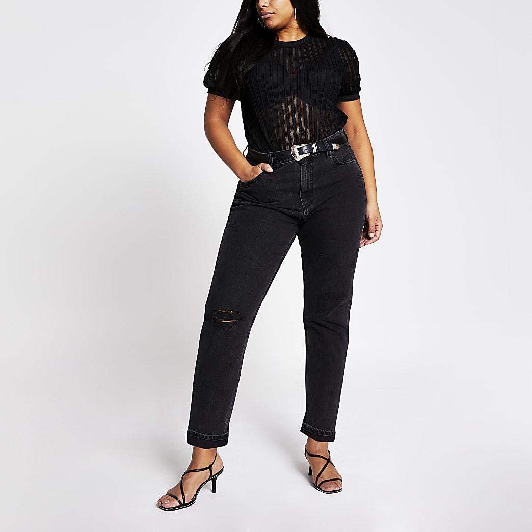 RI Plus - Zwart T-shirt met korte pofmouwen en textuur