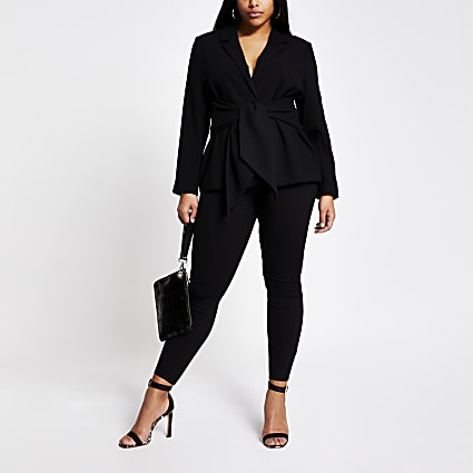 Plus black tie waist blazer