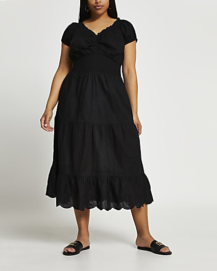 Plus black tiered midaxi cover up dress