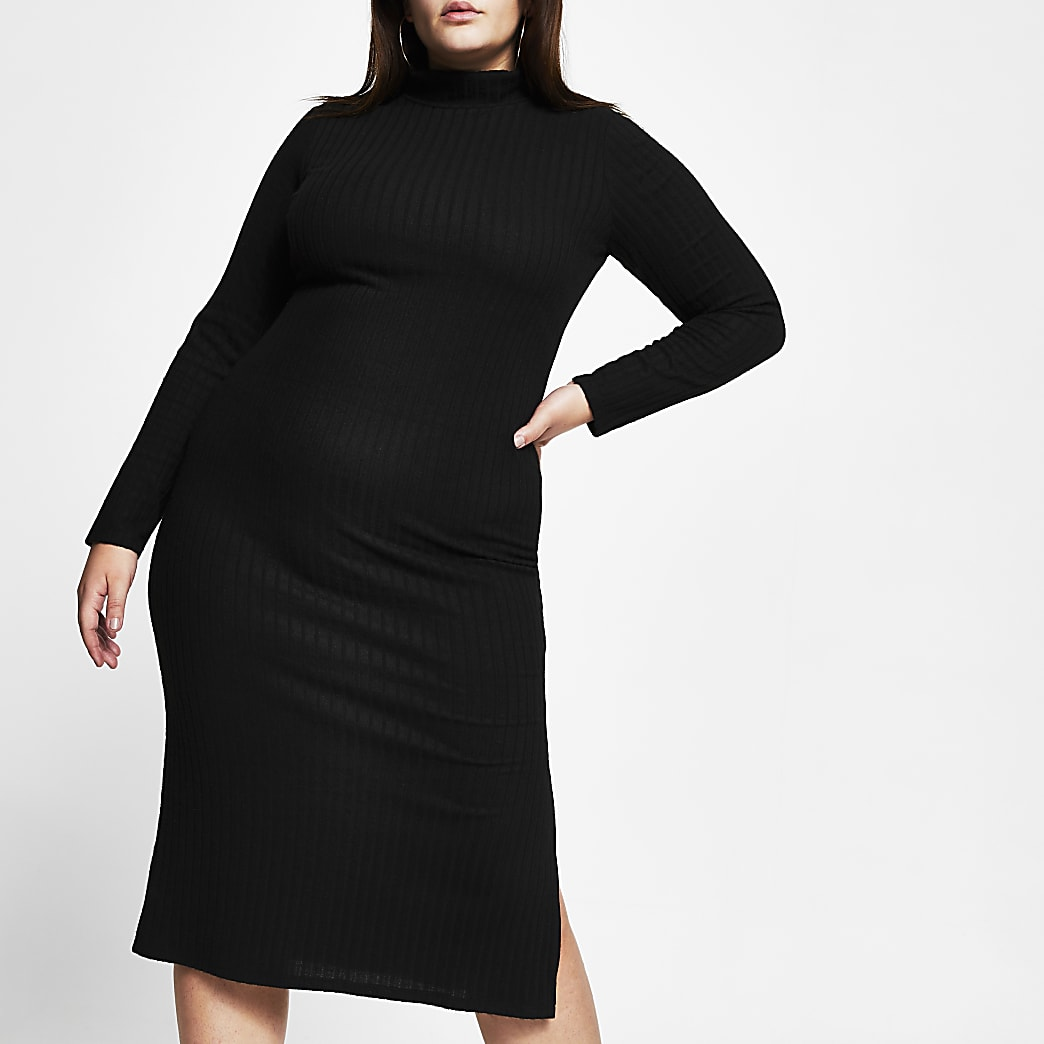 Plus black turtle neck maxi dress