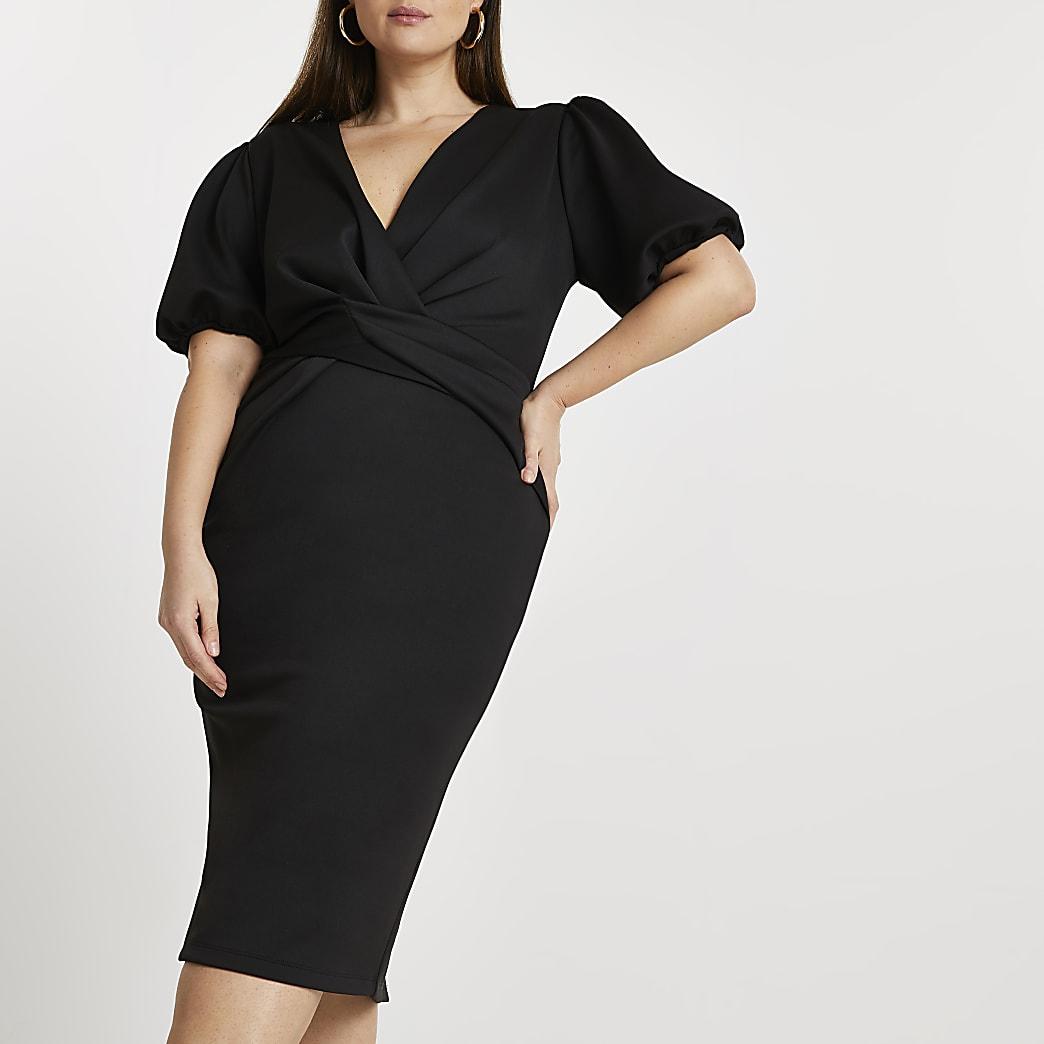 Plus black twist front bodycon midi dress