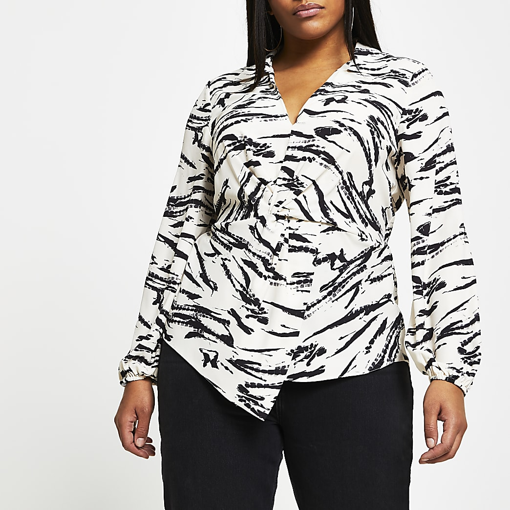 Plus black twist front long sleeve top