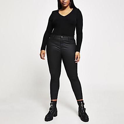 Plus black v neck shoulder pad bodysuit