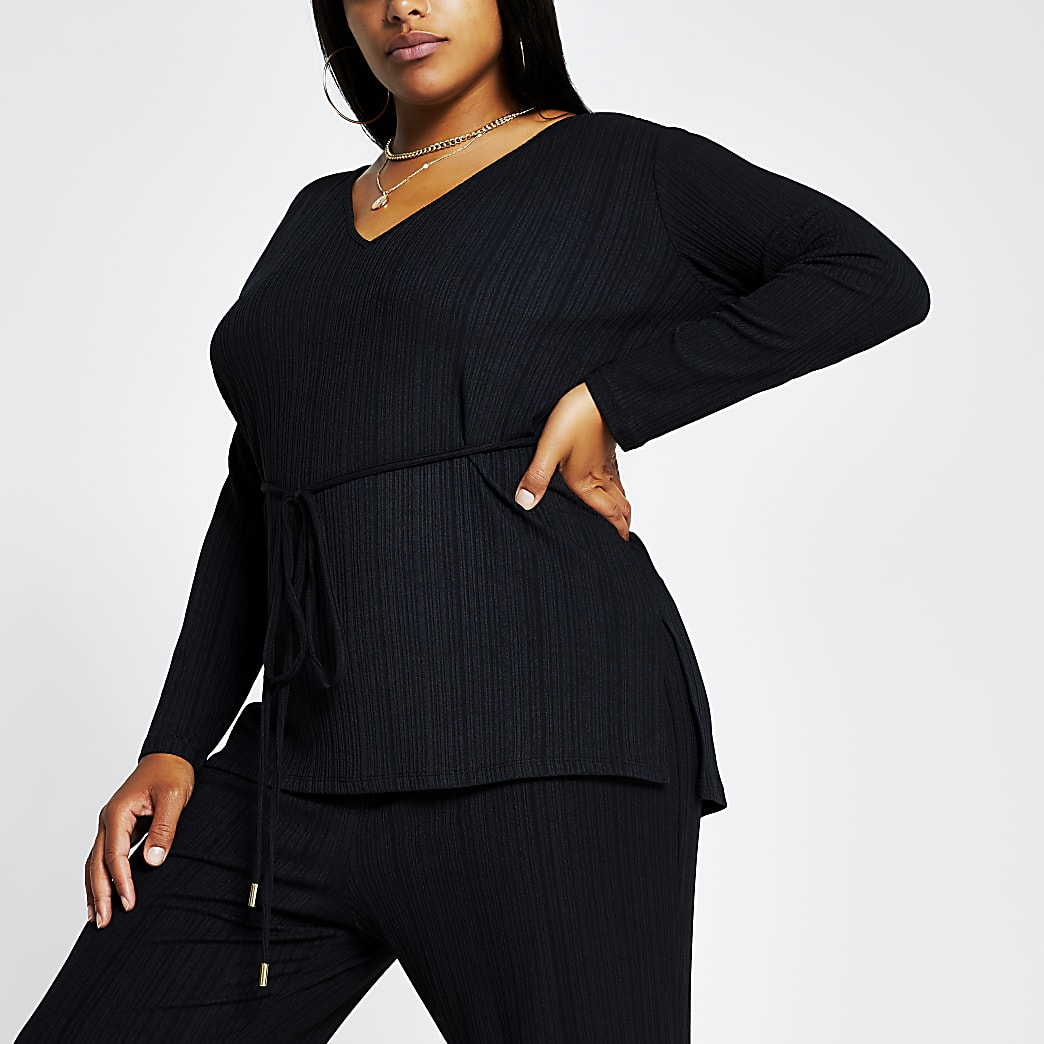 Plus black v neck tie waist ribbed tunic