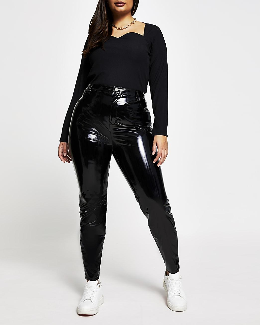 Plus black vinyl super skinny trousers