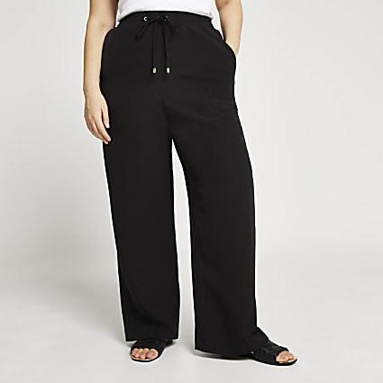 Plus black waisted wide leg trousers