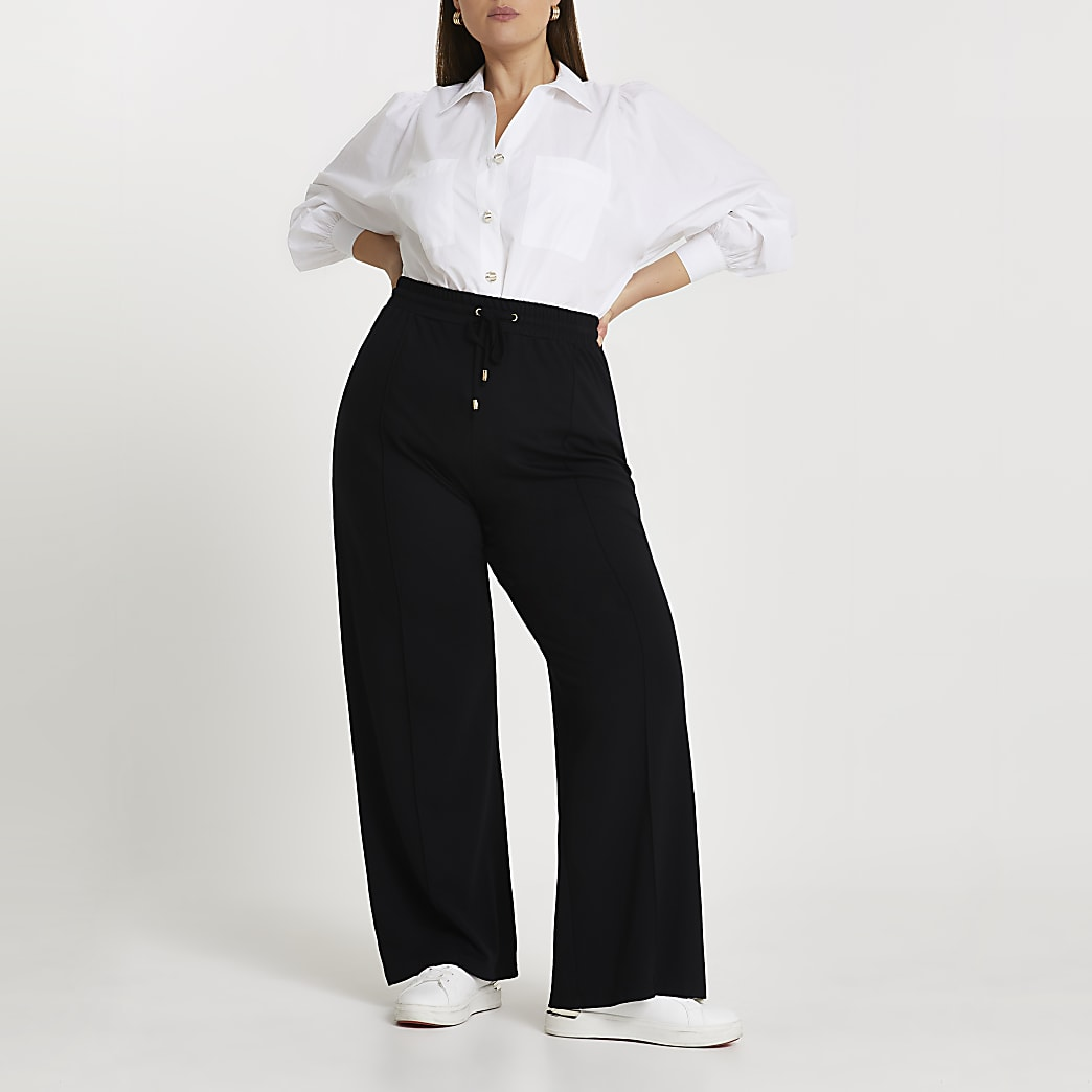 Plus black wide leg ponte joggers
