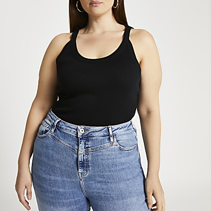 Plus black wide scoop cami top