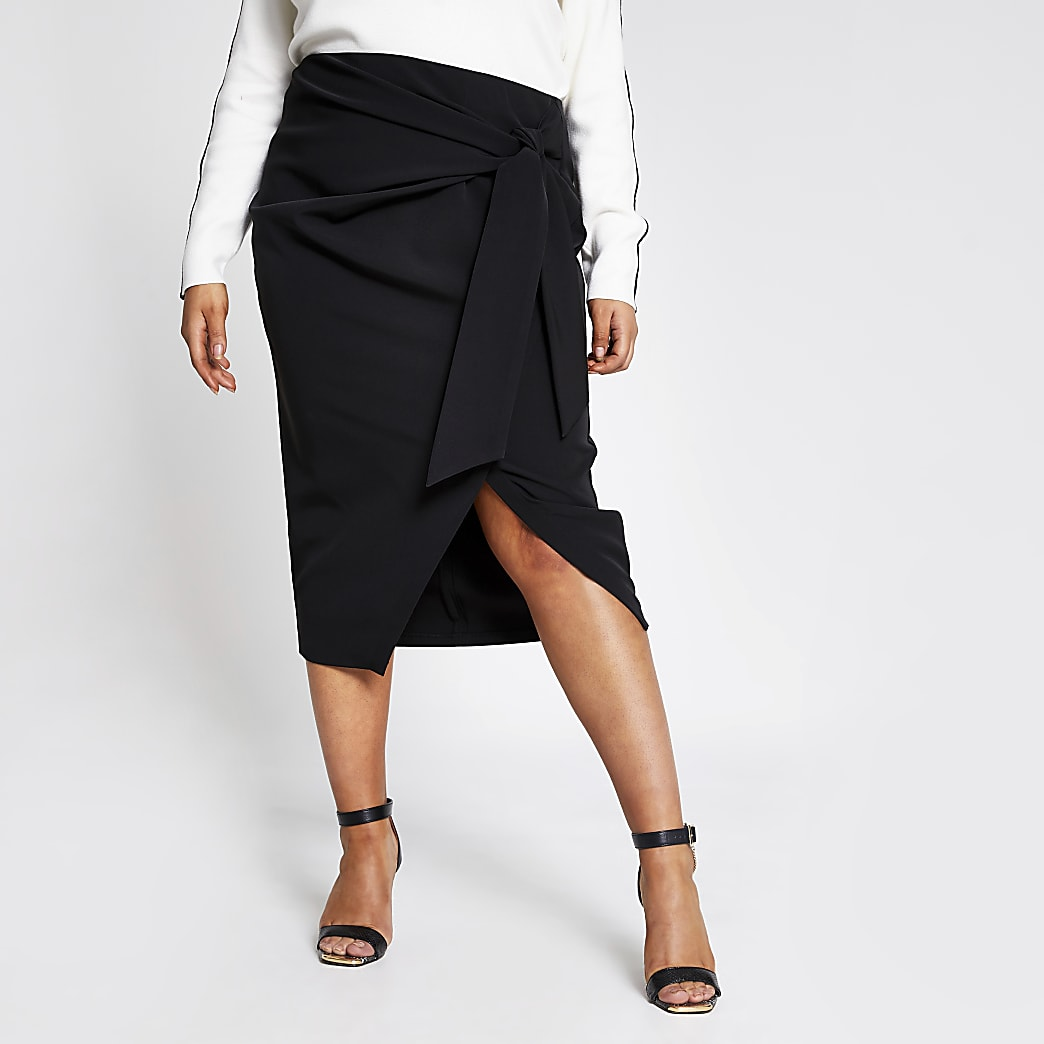Plus black wrap front midi skirt