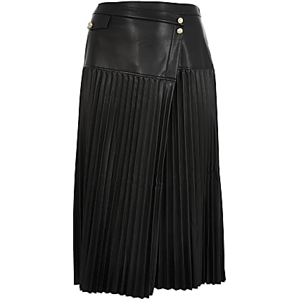 Plus black wrap front pleat midi skirt