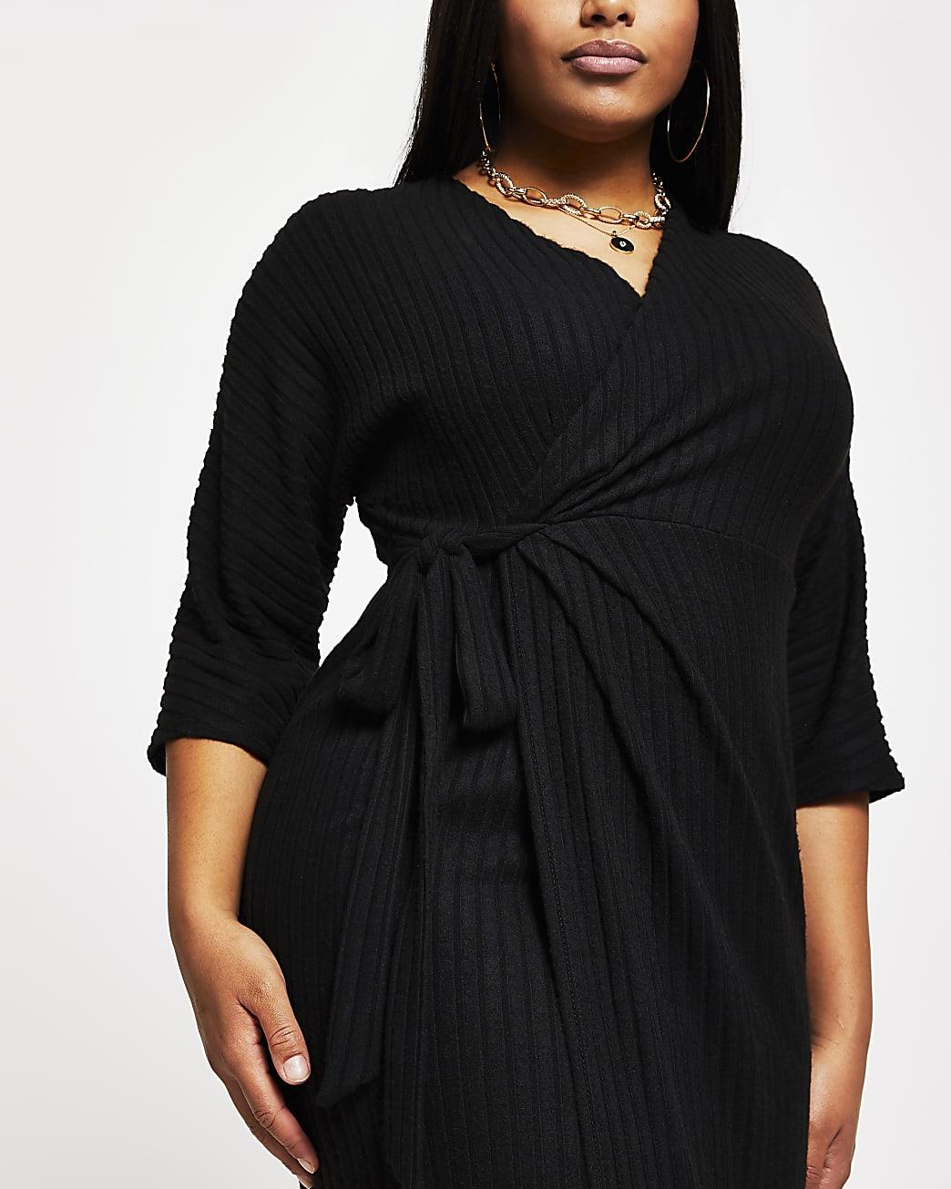 Plus black wrap tie waist midi dress