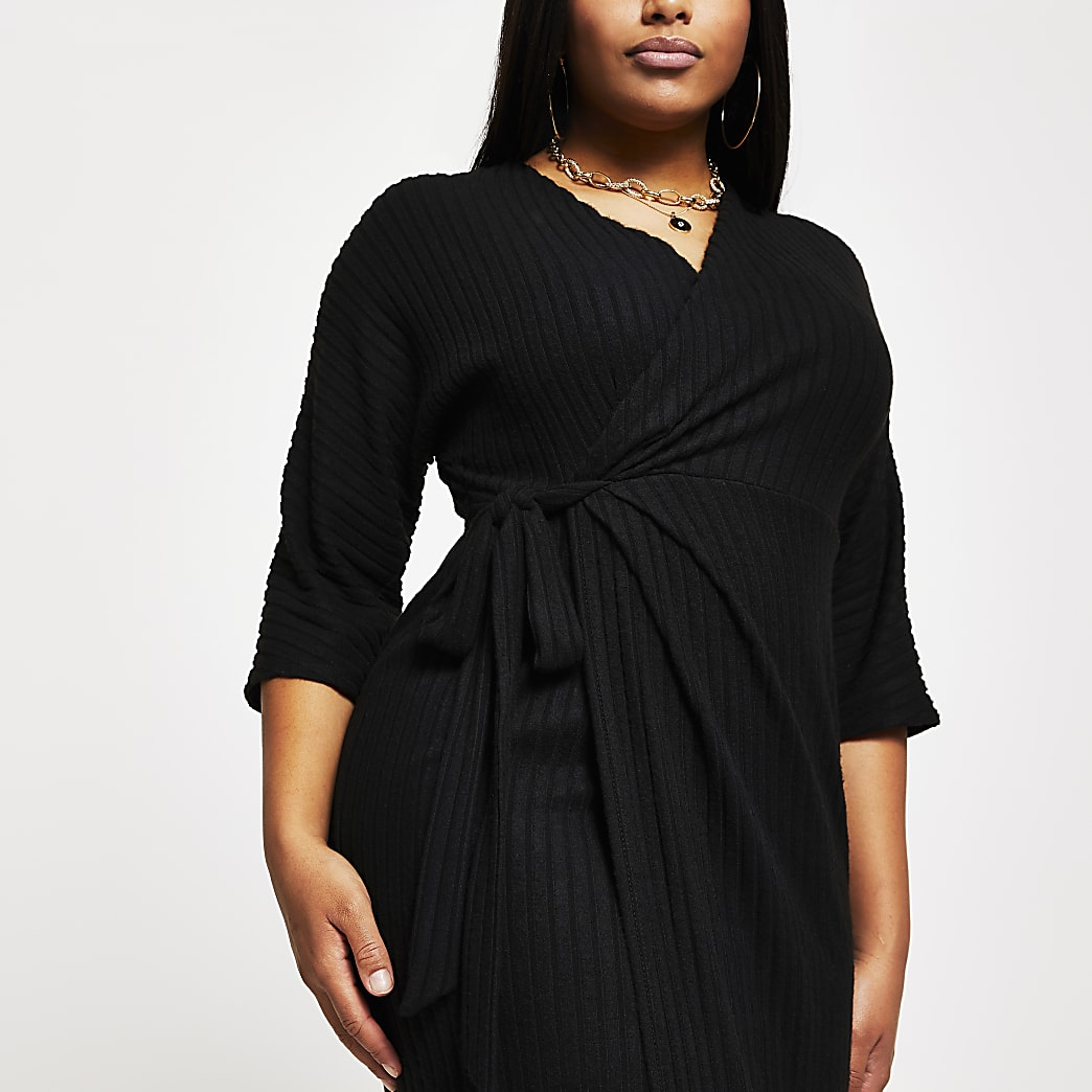 Plus black wrap tie waist midi dress