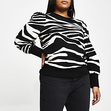 Plus black zebra print long sleeve sweatshirt