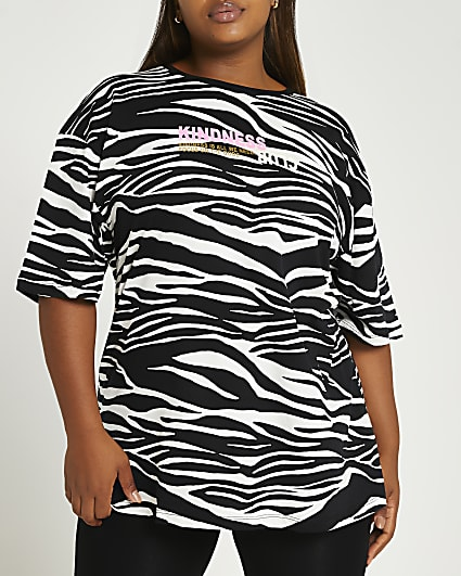 Plus black zebra print oversized t-shirt