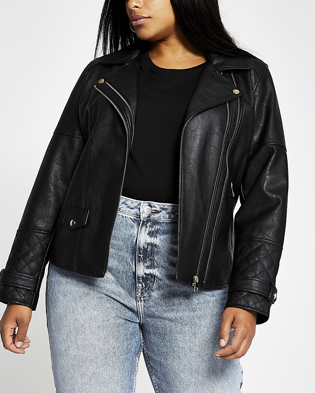 Plus black zip faux leather biker jacket