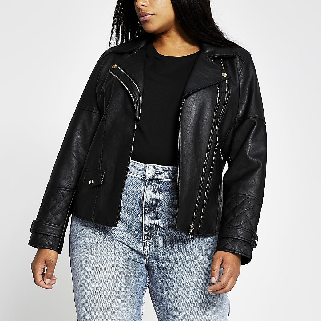 Plus black zip faux leather biker jacket