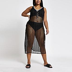 Plus black zip-zag beach cover-up dress