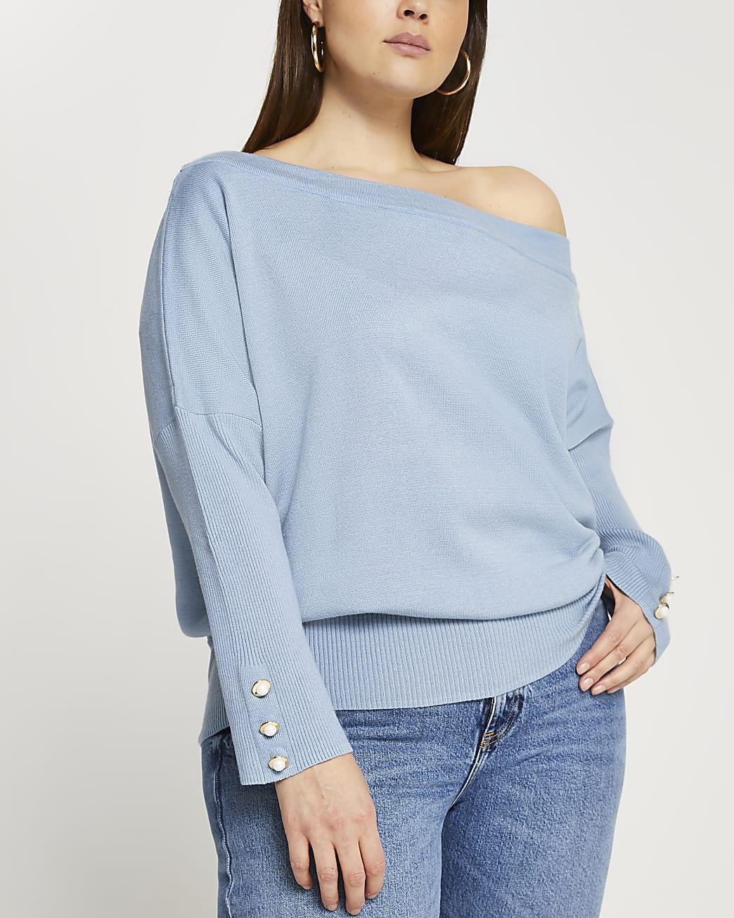 Plus blue asymmetrical long sleeve top