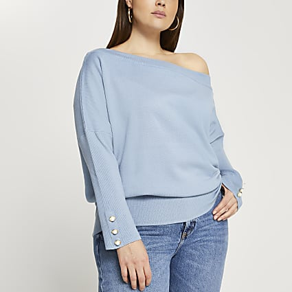 Plus blue asymmetrical long sleeve top