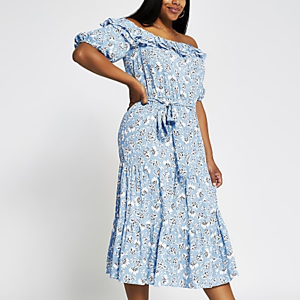 Plus blue bardot midi dress