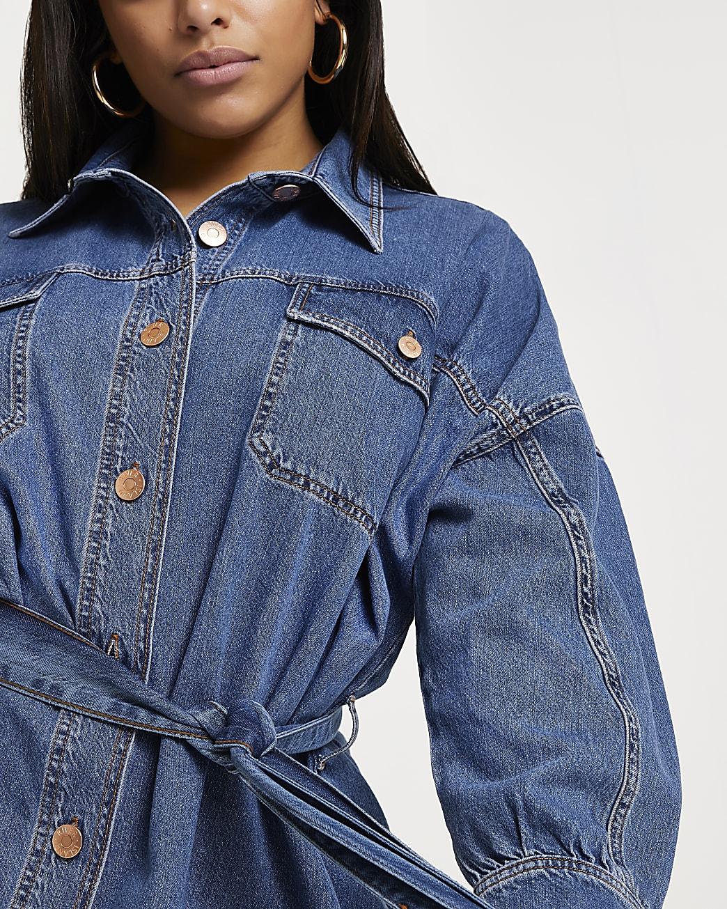 Plus blue batwing sleeve longline denim shirt