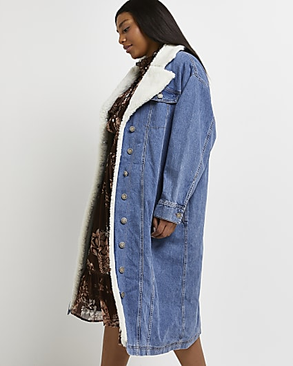 Plus blue borg and denim longline coat