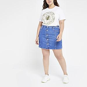 Plus blue button front denim mini skirt
