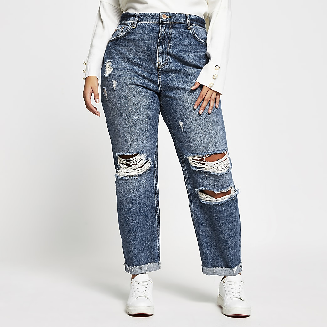 Plus Blue Carrie high rise ripped jeans