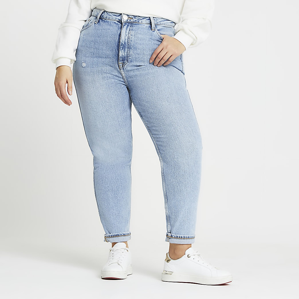 Plus blue Carrie ripped high rise jeans
