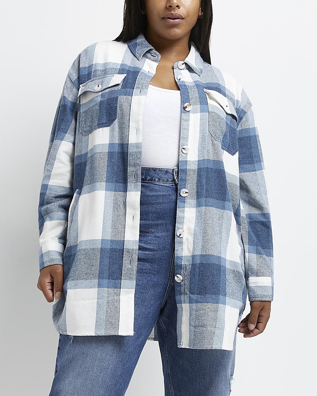 Plus blue check oversized shacket
