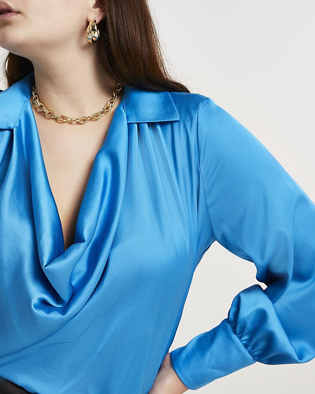 Plus blue cowl long sleeve blouse top
