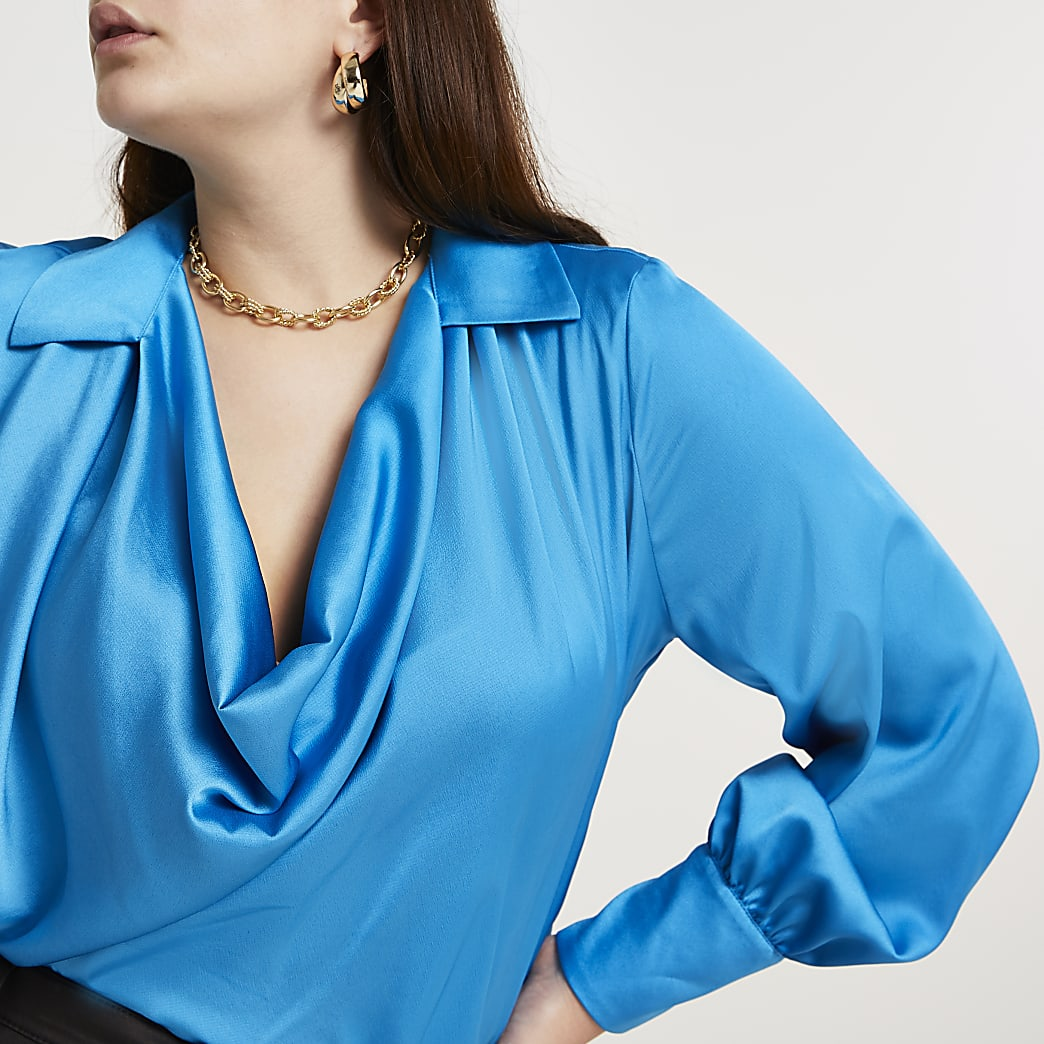Plus blue cowl long sleeve blouse top