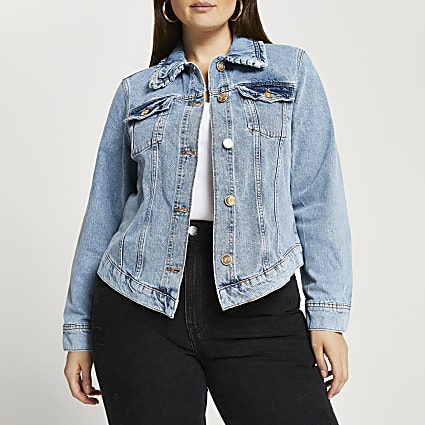 Plus blue denim collared fitted jacket