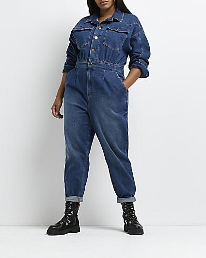 Plus blue denim jumpsuit