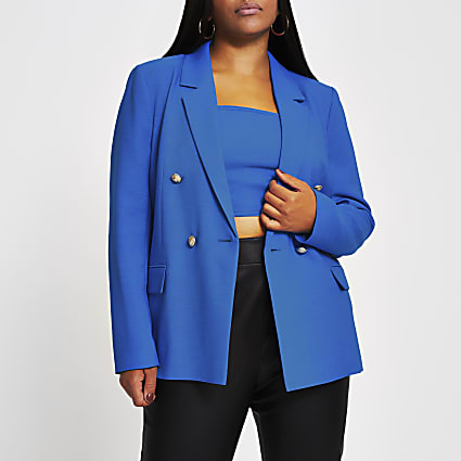 Plus blue double breasted structured blazer