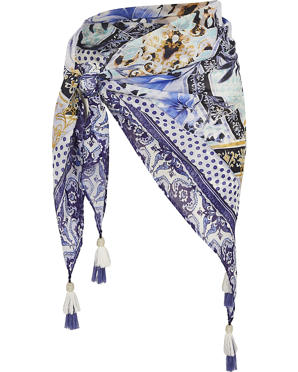 Plus blue floral print beach sarong