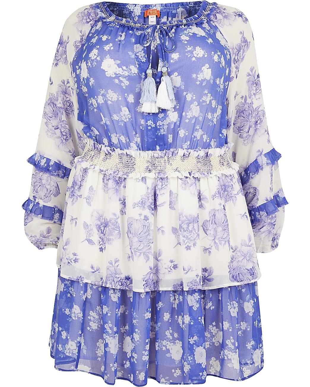 Plus blue floral smock beach dress