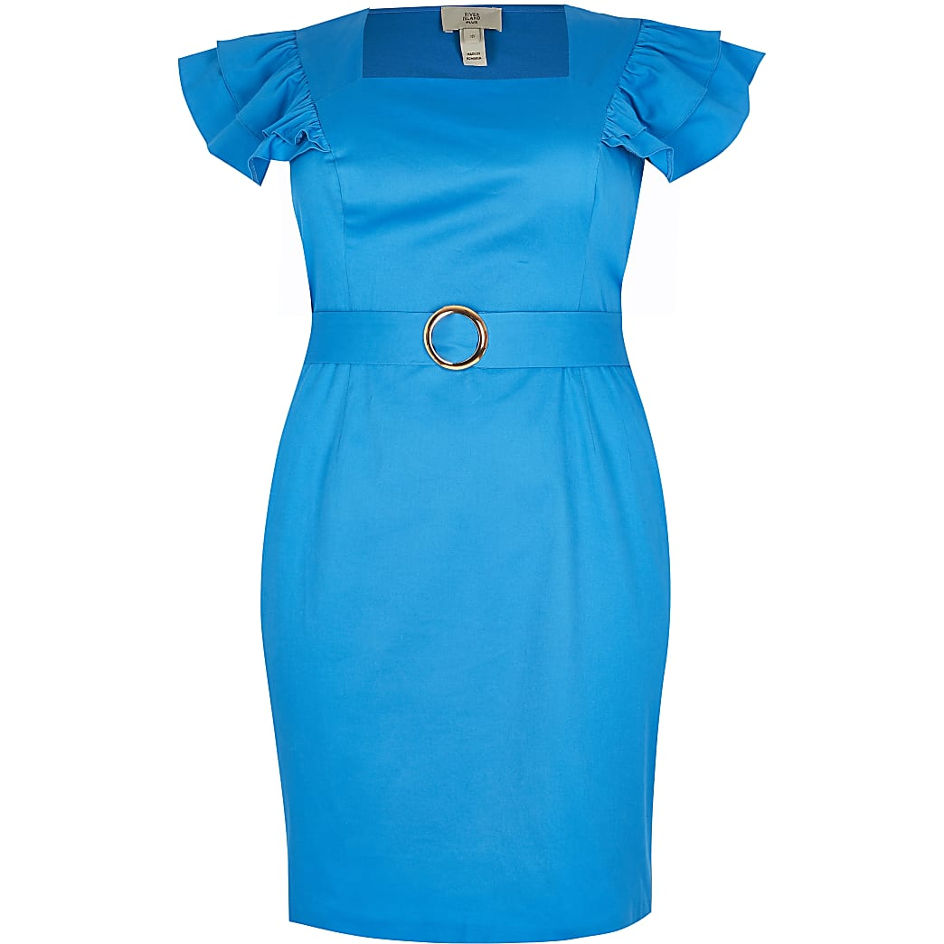 Plus blue frill sleeve belted mini dress