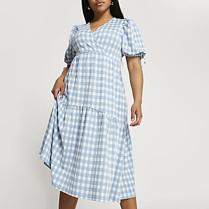 Plus blue gingham midi wrap dress
