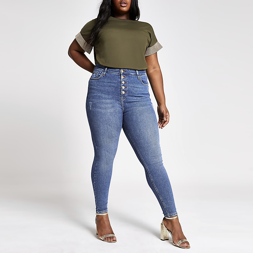 Plus blue Hailey high rise skinny jeans