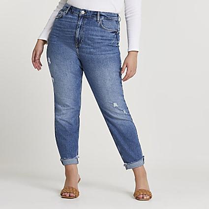 Plus blue high rise mom bum sculpt jeans