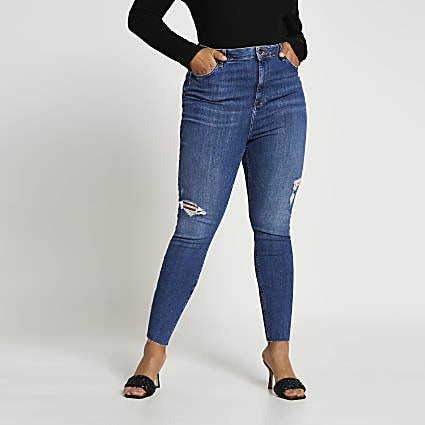 Plus blue high rise skinny bum sculpt jeans