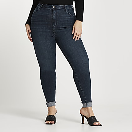 Plus blue high rise skinny jeans